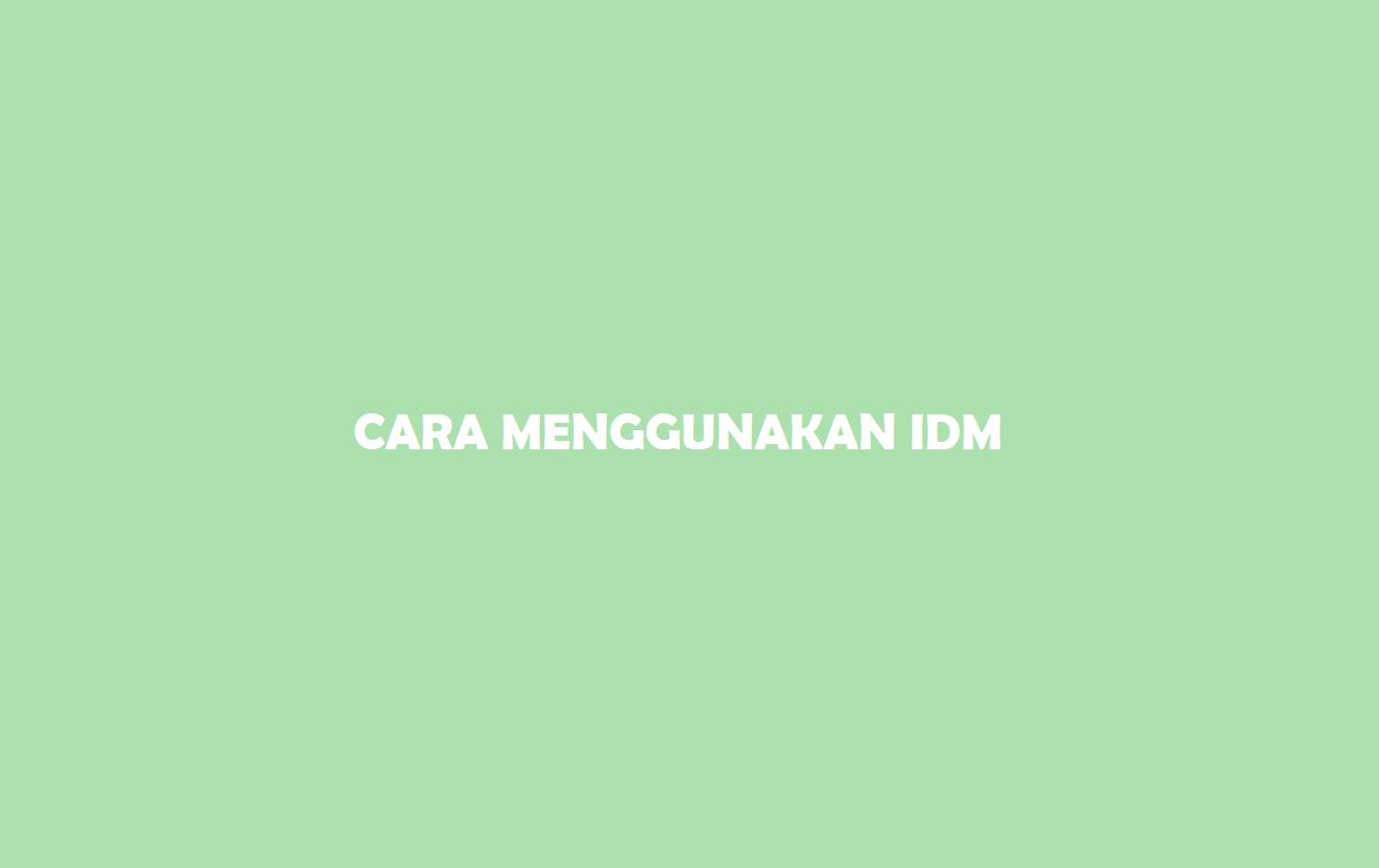 Cara Menggunakan IDM